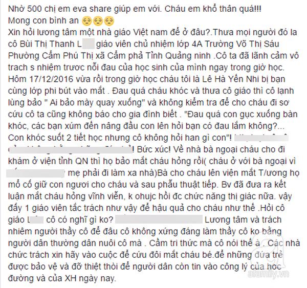Quảng Ninh: Học sinh lớp 4 bị bạn dùng bút chọc thủng mắt ở trường, giáo viên chủ nhiệm thờ ơ? - Ảnh 1.