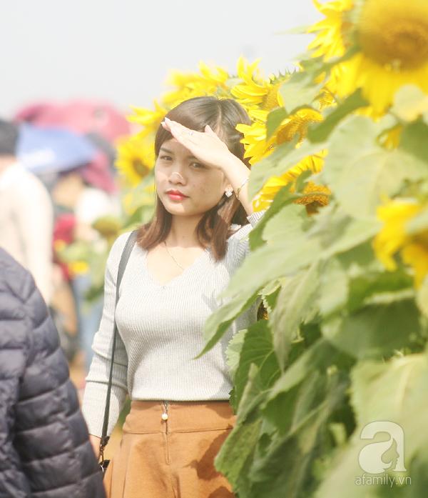 Các thiếu nữ hào hứng khoe sắc xinh đẹp cùng cánh đồng hoa hướng dương rực rỡ - Ảnh 1.