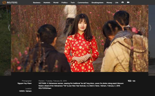 Hình ảnh hot girl Kiều Trinh diện áo dài đỏ xuất hiện trên hãng thông tấn lớn nhất thế giới - Ảnh 1.