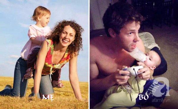 Cười ngất với chùm ảnh: Muôn kiểu khác biệt giữa bố và mẹ khi chăm con - Ảnh 2.