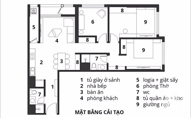 Với 240 triệu, KTS đã cải tạo căn hộ 110m2 từ chỗ có mặt bằng lồi lõm trở nên thoáng sáng đến bất ngờ - Ảnh 2.