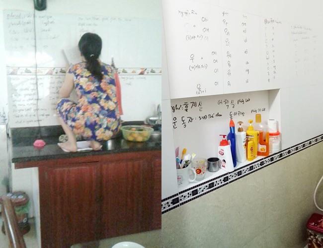Con gái khoe mẹ U50 hiếu học nhất hệ mặt trời, dùng cả tường bếp làm bảng ghi từ mới, cấu trúc tiếng Anh - Ảnh 3.