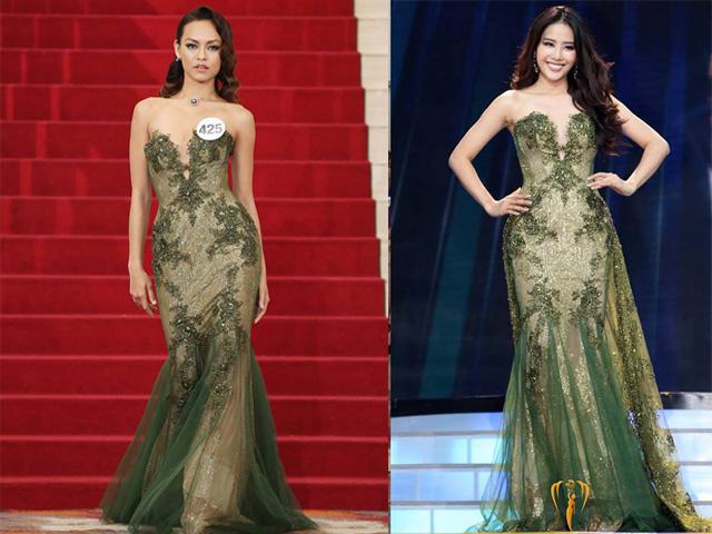Mâu Thủy đụng ai không đụng lại chọn đúng Phạm Hương để đụng hàng váy dạ hội khi trình diễn tại HHHV 2017 - Ảnh 3.