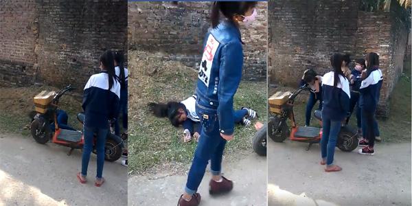 Thực hư về clip một nhóm nữ sinh cầm gạch đánh bạn ngất xỉu giữa đường ở Bắc Giang - Ảnh 3.