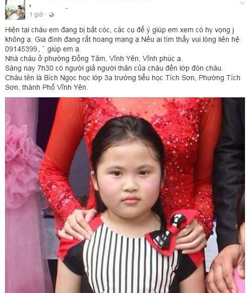 Vĩnh Phúc: Bé gái lớp 3 đi học bị người lạ đón đi mất liên lạc hơn 10 tiếng đồng hồ - Ảnh 1.