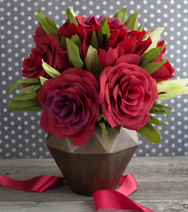 2 cách làm bình hoa giấy sắc đỏ rực rỡ đón xuân - Ảnh 3.