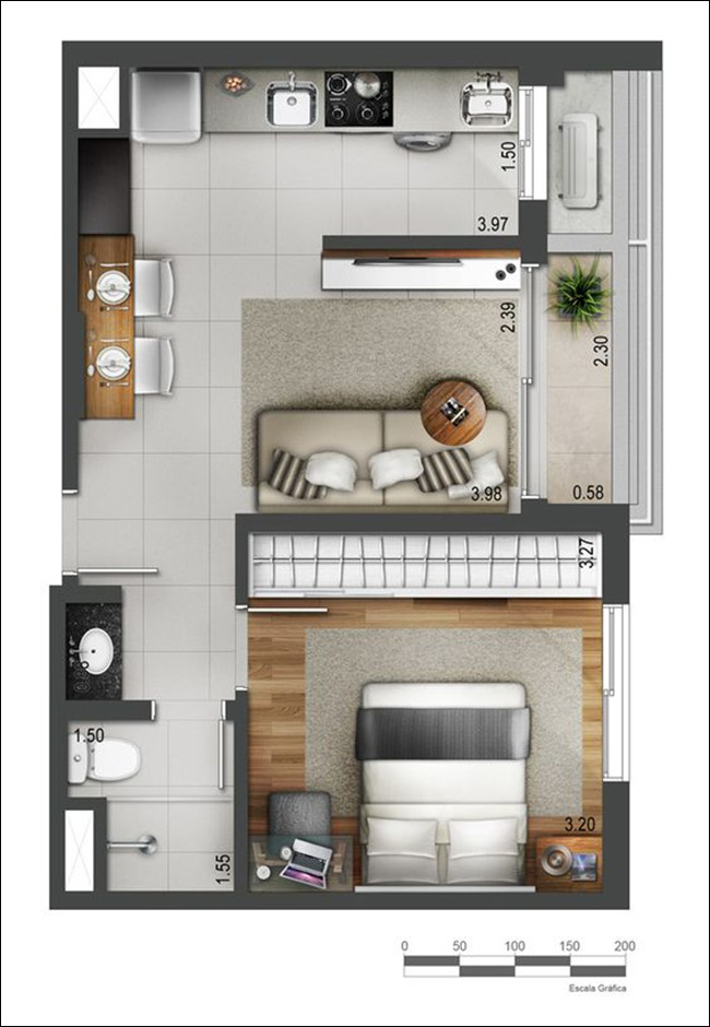 14 mẫu căn hộ một phòng ngủ không thể lý tưởng hơn cho người độc thân và vợ chồng trẻ - Ảnh 2.