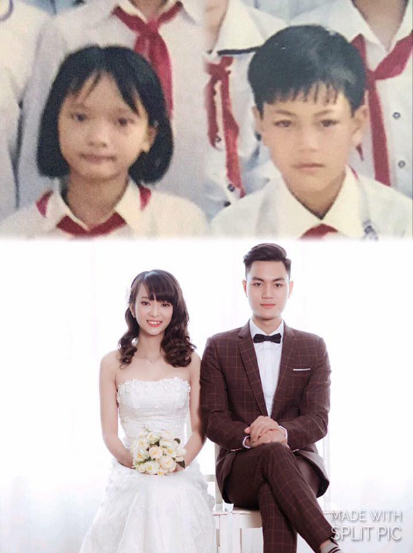 Cặp đôi có bức ảnh ngày ấy - bây giờ hot nhất MXH, thích từ lớp 3, bặt tin 11 năm, tới ngày chung đôi - Ảnh 1.
