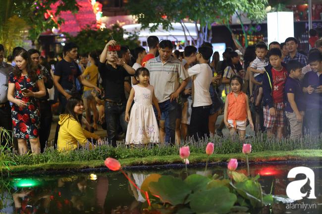 Người dân chen chúc nhau trên đường hoa để tìm những góc ảnh đẹp.