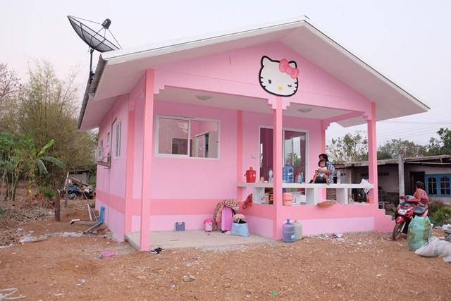 Ba mẹ dành dụm tiền xây ngôi nhà hình chú mèo Kitty đẹp như trong mơ dành tặng thiên thần nhỏ của mình - Ảnh 1.