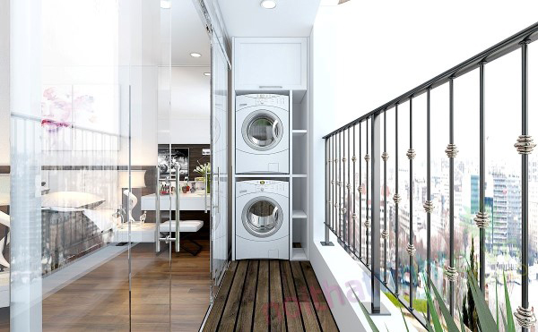 Ban công - vị trí vàng để bố trí máy giặt cho nhà chật - Ảnh 1.