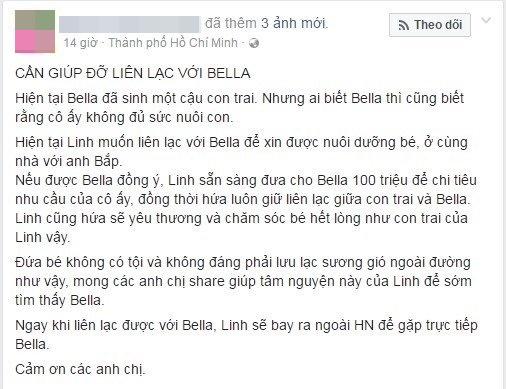 """Cô gái trẻ Sài Gòn sẵn sàng chi 100 triệu đồng để xin nhận nuôi con trai của """"Hot girl Bella"""""""