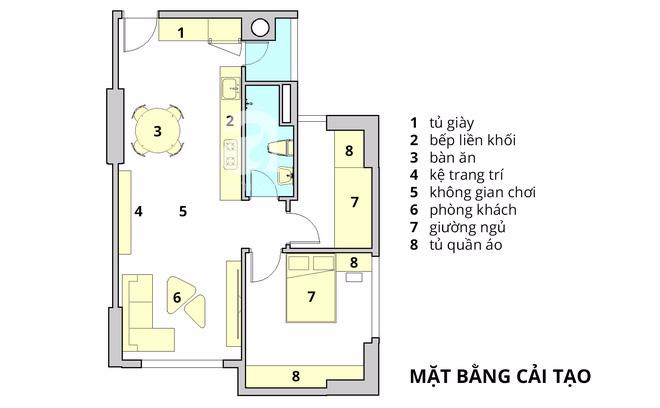 Tư vấn bố trí nội thất cho căn hộ 64m² từ vô số những nhược điểm thành không gian sống đáng mơ ước - Ảnh 2.