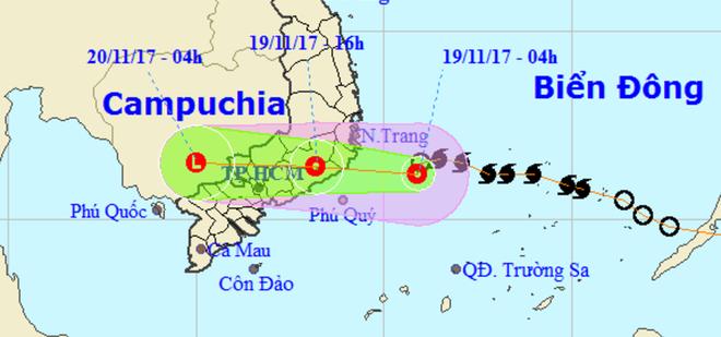 Đường đi của áp thấp nhiệt đới. Nguồn: www.nchmf.gov.vn