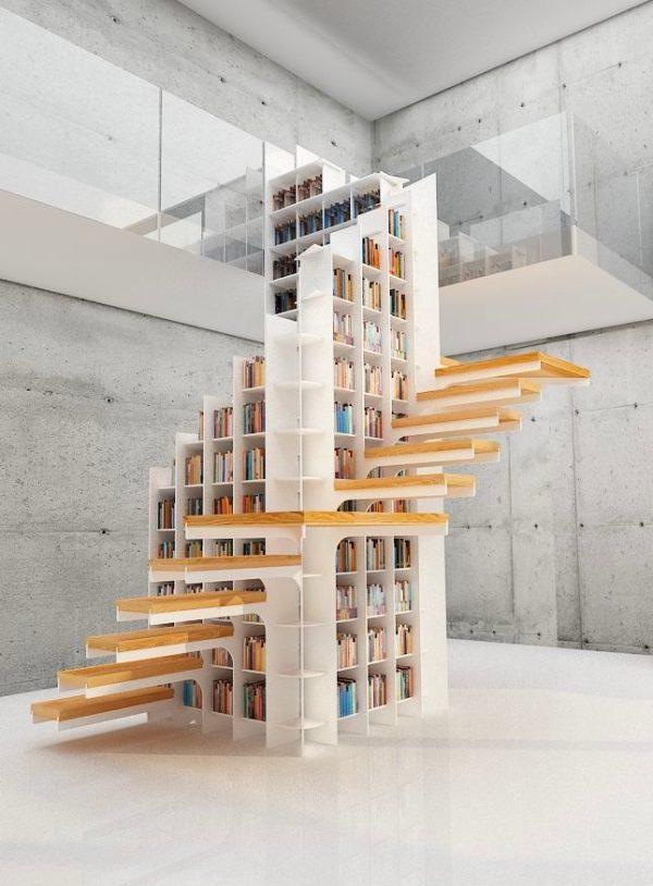 20 thiết kế giá sách kết hợp với cầu thang vô cùng đẹp mắt - Ảnh 17.