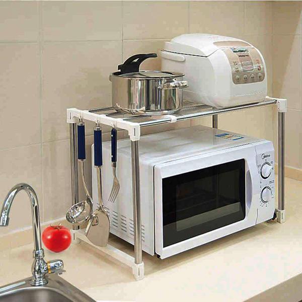 13 mẫu giá kệ để lò vi sóng tiện dụng cho nhà bếp nhỏ - Ảnh 4.