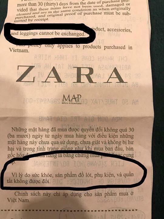 Không được đổi quần legging vừa mua, khách hàng tố Zara Hà Nội lừa đảo - Ảnh 5.