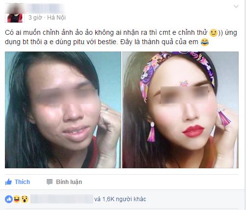 Cô gái có gương mặt đầy khuyết điểm được chỉnh sửa xinh lung linh nhờ phần mềm điện thoại - Ảnh 1.