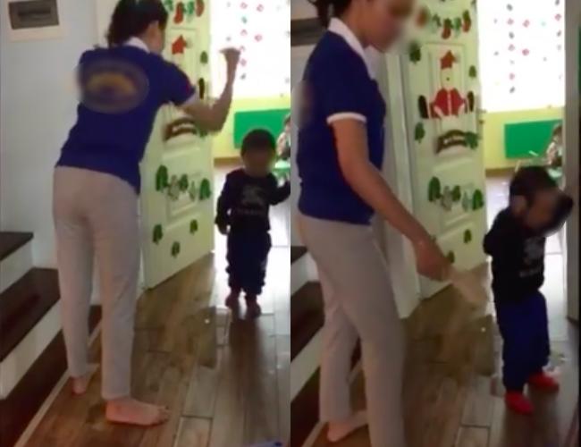 Hình ảnh cắt từ clip về việc cô giáo dùng dép đánh vào người bé tại trường Sen Vàng gây xôn xao dư luận.