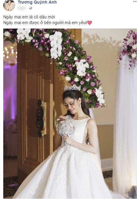 Trương Quỳnh Anh mặc áo cô dâu, úp mở sẽ làm đám cưới vào vào ngày mai - Ảnh 1.