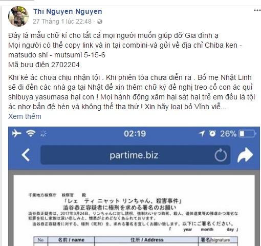Gia đình bé Nhật Linh ở Việt Nam sẵn sàng tiếp nhận chữ kí của mọi người để gửi sang Nhật đòi lại công bằng cho cháu - Ảnh 1.