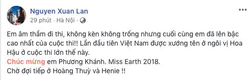 Bùi Phương Nga, HHen Niê, Hoàng Thùy cùng loạt sao Việt thể hiện sự tự hào khi Nguyễn Phương Khánh đăng quang Miss Earth 2018 - Ảnh 6.
