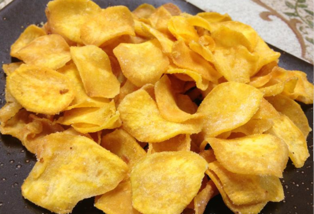 Dau chi bua chinh moi can Eat Clean, an vat co mon khoai lang chip cung Clean khong kem!