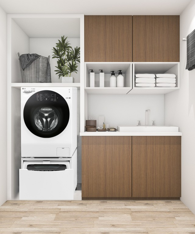 Mẹo thiết kế góc giặt tiện ích miễn chê cho căn hộ chung cư nhỏ - Ảnh 1.
