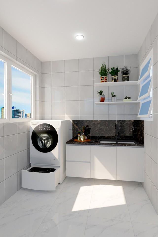 Mẹo thiết kế góc giặt tiện ích miễn chê cho căn hộ chung cư nhỏ - Ảnh 3.