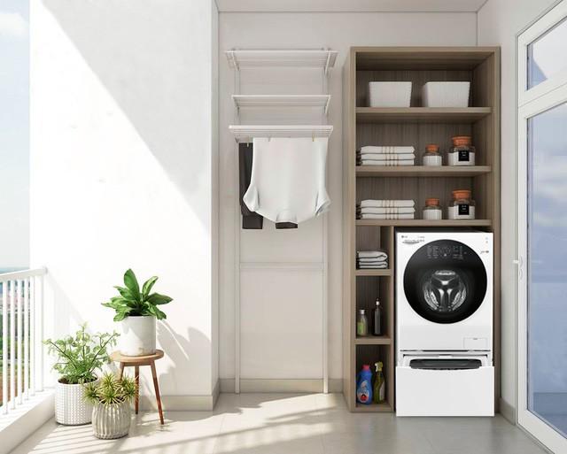 Tuyệt chiêu thiết kế góc giặt nới rộng không gian ban công - Ảnh 2.