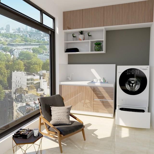 Tuyệt chiêu thiết kế góc giặt nới rộng không gian ban công - Ảnh 3.