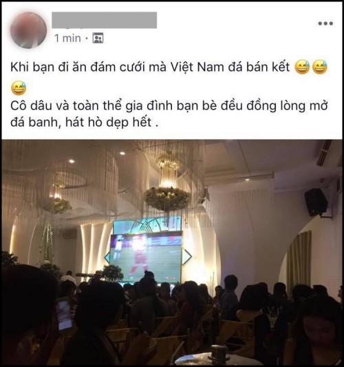 Co dau chu re bat bong da ngay trong dam cuoi, cung quan khach nhiet tinh co vu cho doi tuyen Viet Nam tran ban ket luot di