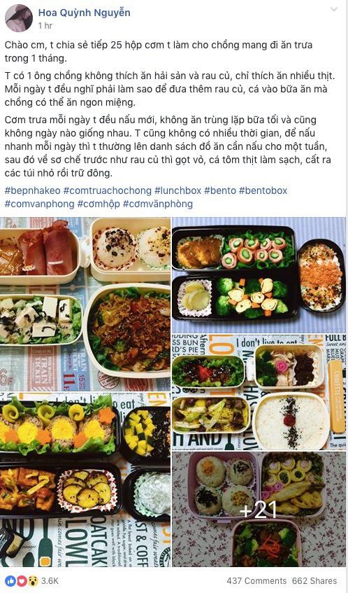 Cô vợ nấu cho chồng 25 hộp cơm trưa/tháng hút 3,6k like MXH chỉ sau 1 giờ đăng tải - Ảnh 1.