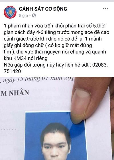Thái Nguyên: Một phạm nhân vừa trốn trại, để lại lời nhắn có không giữ mất đừng tìm - Ảnh 2.