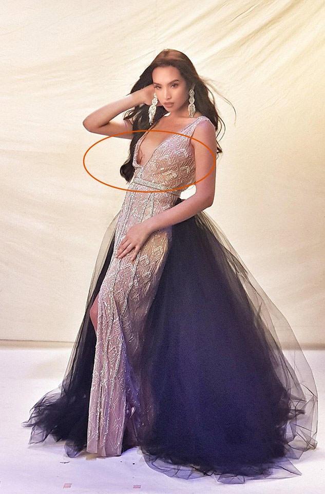 Kém may mắn cho đại diện Mỹ tại cuộc thi Hoa hậu chuyển giới, mặc đầm dạ hội lại để miếng dán ngực lộ rõ thế này - Ảnh 3.