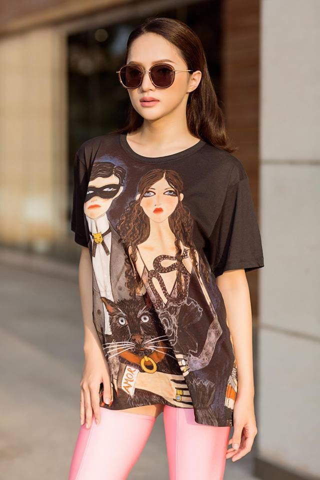 Giản dị như Hoa hậu Hương Giang, sau ngày đăng quang vẫn mặc lại áo phông cũ - Ảnh 5.