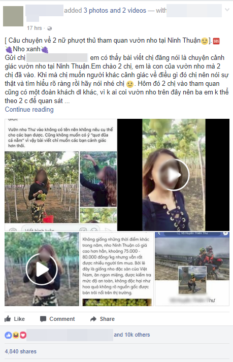 Nữ phượt thủ ngửa cổ ăn nho trên giàn, còn tố chủ vườn Ninh Thuận: Con gái chủ vườn tức giận lên tiếng! - ảnh 2