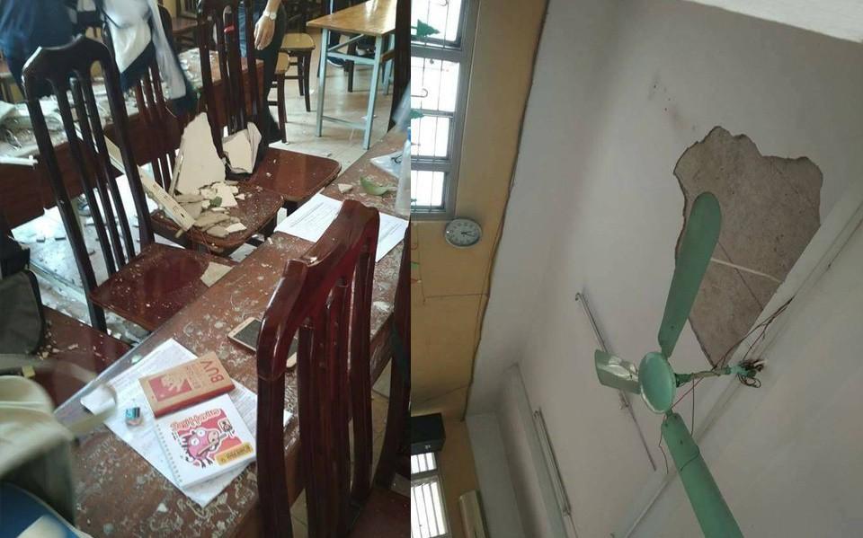 Hà Nội: Đang ngồi học, 3 học sinh bị mảng trần rơi trúng khiến bị thương