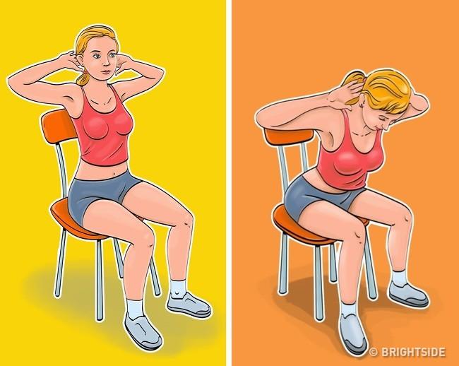 7 bài tập dành cho những người lười đứng lên, thích ngồi ì trên ghế mà vẫn có bụng phẳng, eo gọn gàng - Ảnh 4.