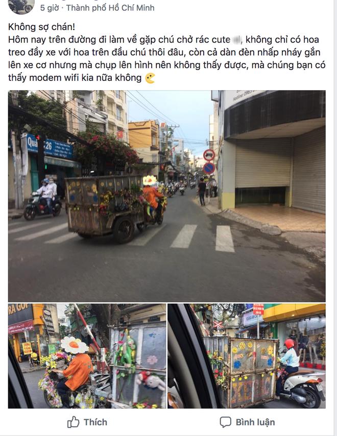 Khi là nhân viên vệ sinh môi trường rất yêu nghề và yêu đời, bạn sẽ biết cách biến xe rác thành xe hoa - Ảnh 1.