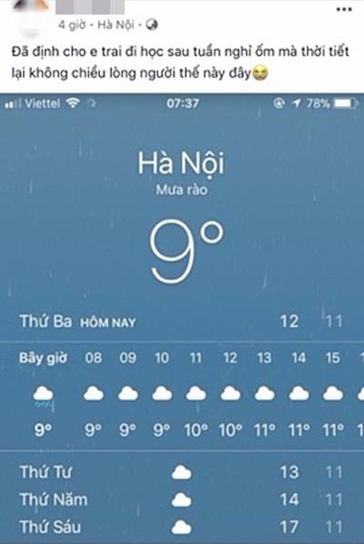 Hình ảnh được chia sẻ nhiều nhất ngày hôm nay: Bảng báo nhiệt độ tụt xuống số 9, Hà Nội lạnh teo như Bắc Cực - Ảnh 3.