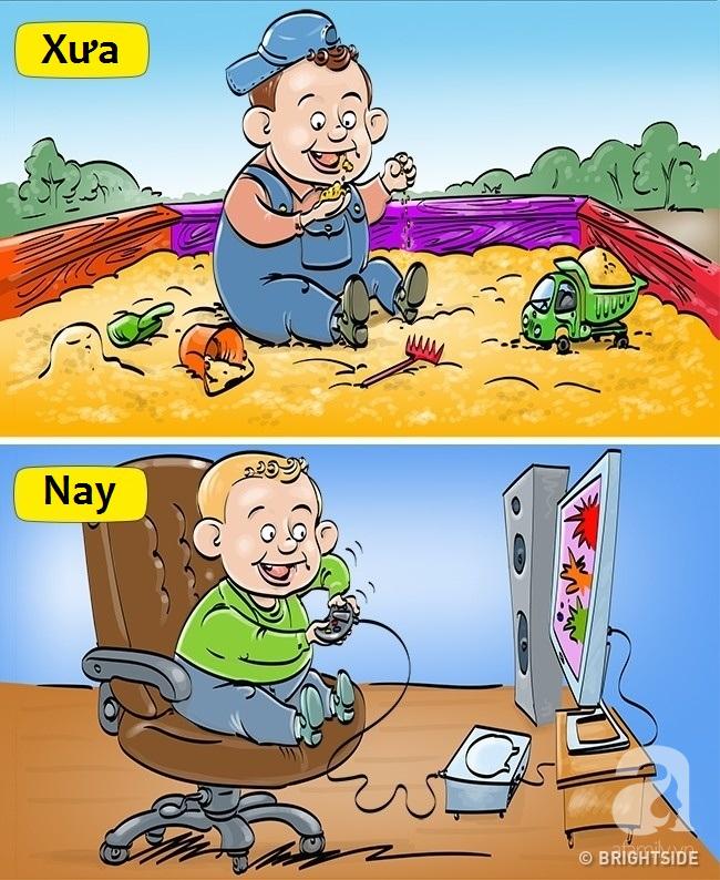 Bộ tranh hài hước so sánh khác biệt một trời một vực giữa trẻ con thời xưa và thời nay - Ảnh 1.