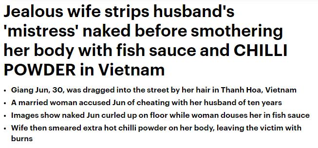 Báo chí phương Tây đưa tin vụ đánh ghen bằng nước mắm và ớt bột ở Thanh Hóa - Ảnh 1.