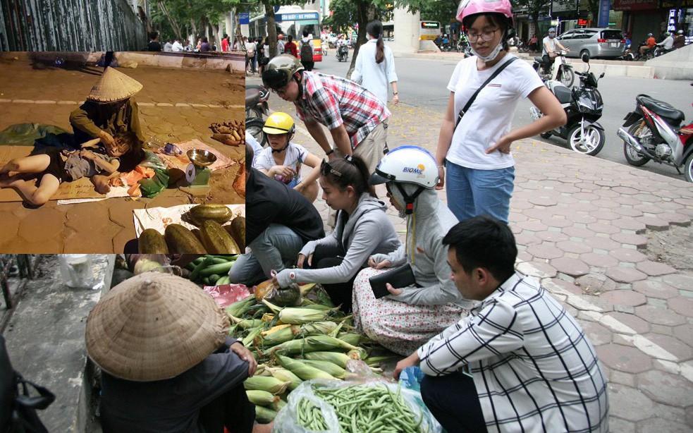 Người dân Hà Nội tìm đến mua ủng hộ bà cụ bán rau củ xuyên đêm ở vỉa hè để có tiền đóng học cho cháu