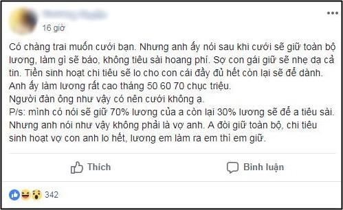 Chưa kịp mừng vì chồng tương lai có thu nhập 70 triệu/tháng, cô gái điếng người khi biết chàng đòi giữ hết tiền lương