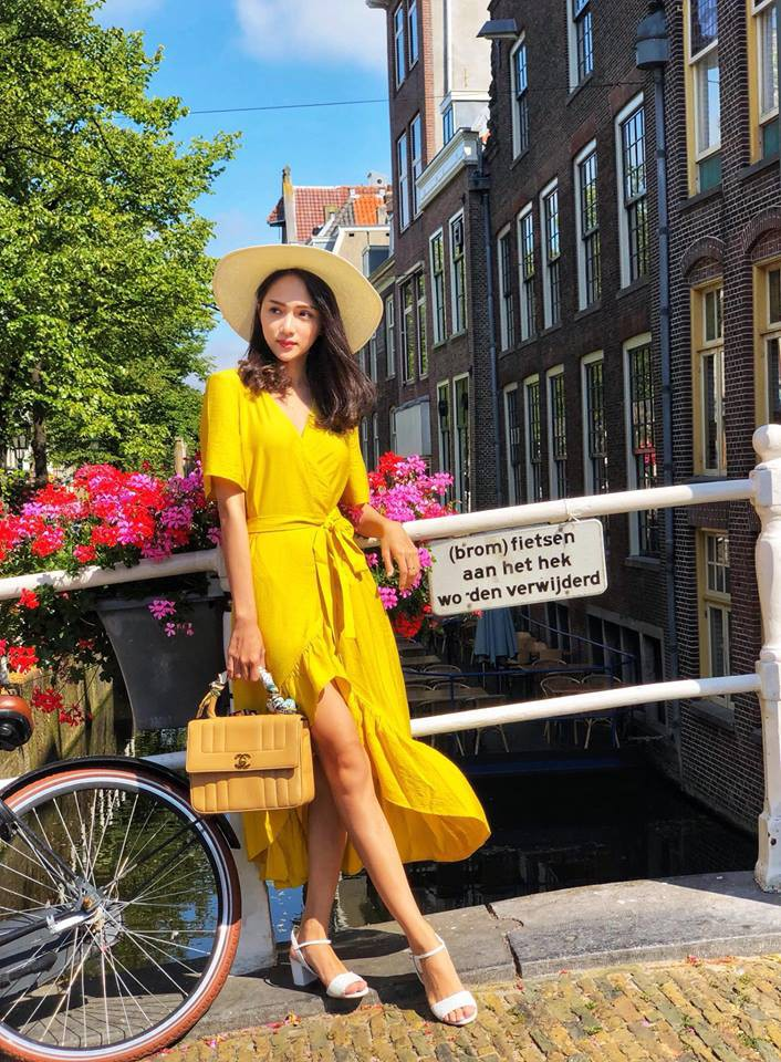 Học theo Kate và Meghan, các người đẹp Việt cũng đang diện váy áo vàng tươi chói lòa - Ảnh 3.