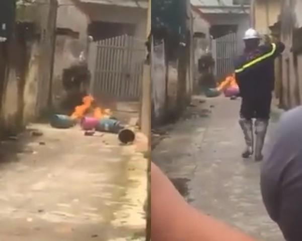 Hà Nội: Con rể vác 4 bình gas đến đốt trước cửa nhà bố mẹ vợ - Ảnh 1.