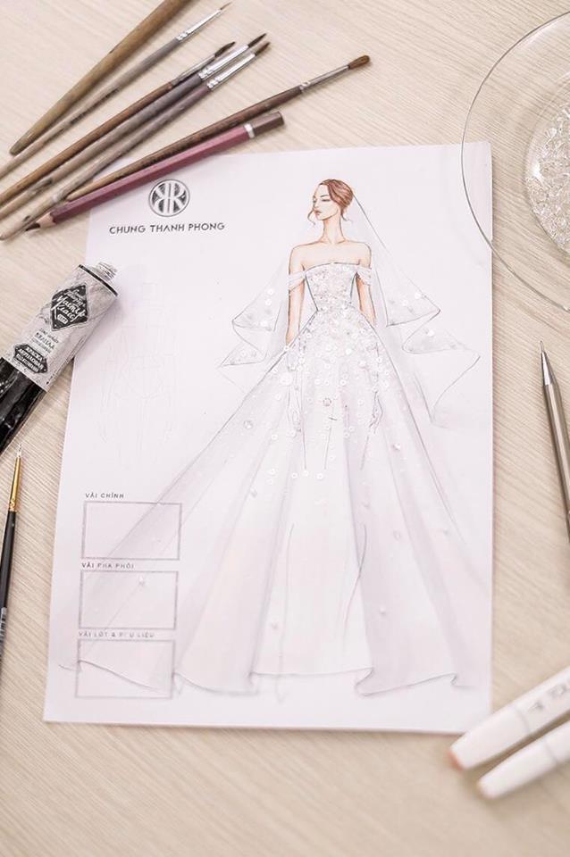 Hé lộ váy cưới lộng lẫy được thiết kế riêng cho Á hậu Tú Anh trong ngày trọng đại - Ảnh 1.
