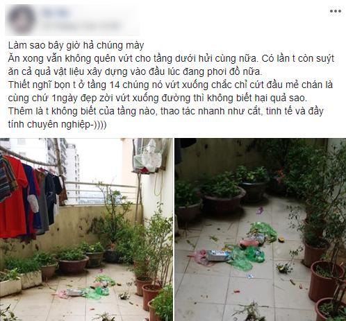 Cô gái ngán ngẩm với bao rác vương vãi khắp sân vì hàng xóm chung cư thiếu ý thức: vấn nạn chung còn nhiều bỏ ngỏ? - Ảnh 1.