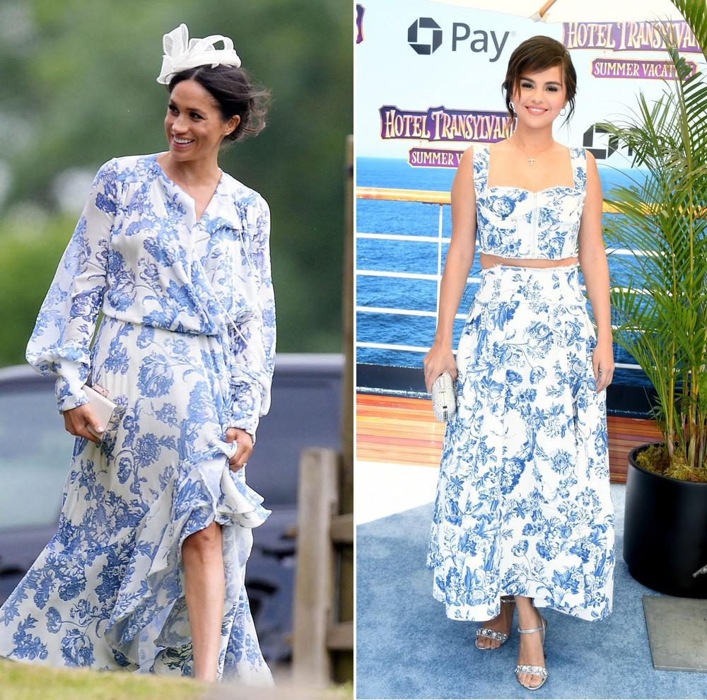 Mang cùng một kiểu họa tiết hoa nhưng chiếc váy của Công nương Meghan Markle lại đắt gấp đôi của Selena Gomez - Ảnh 4.